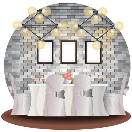 Dining room elevation set with brick background for interior,vector illustration