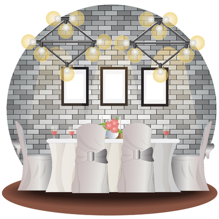 Dining room elevation set with brick background for interior,vector illustration