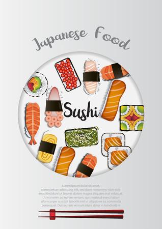 Japanese Food background Ilustração