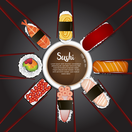 Sushi menu with chalkboard background