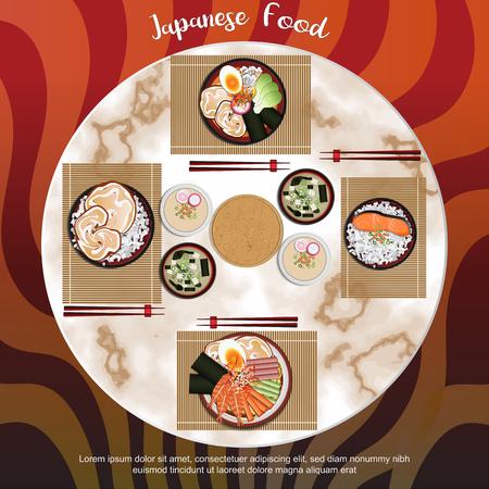 Japanese Food with  background Ilustração