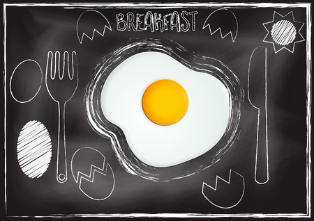 Breakfast ,Egg with chalkboard background Imagens - 117728365