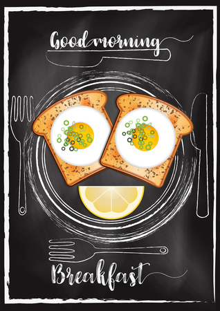 Breakfast menu with chalkboard background Imagens - 117728369