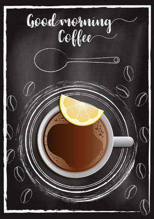 Breakfast coffee menu with chalkboard background Çizim