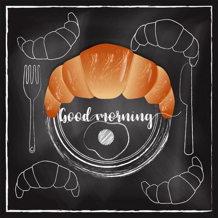 Breakfast  menu with chalkboard background