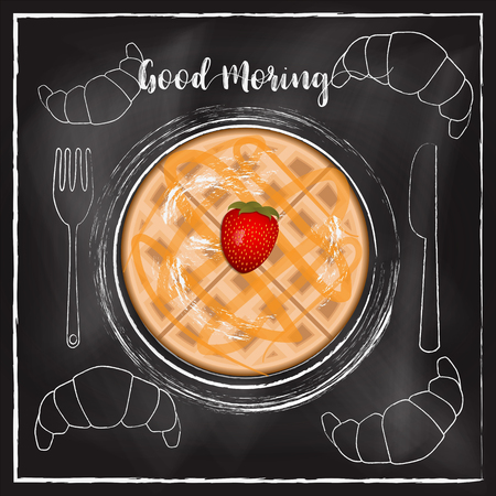 Breakfast  menu with chalkboard background Reklamní fotografie - 117728368