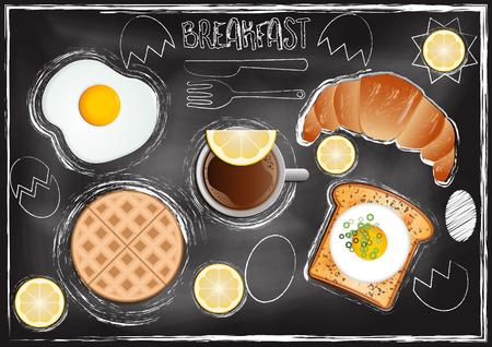 Breakfast menu with chalkboard background Reklamní fotografie - 117728371