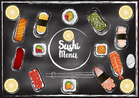 Sushi menu with chalkboard background in hand draw style, japanese food Çizim