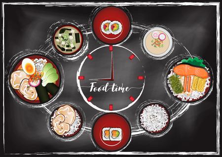 Japanese Food with chalkboard background Reklamní fotografie - 117728392