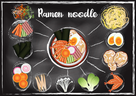 Japanese food ,Ramen  menu  with chalkboard background