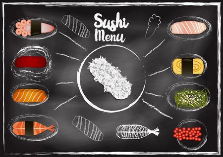 Sushi menu with chalkboard background