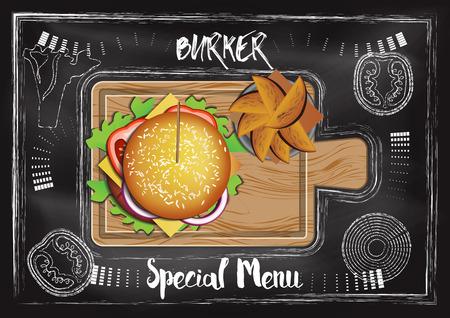 Burger with chalkboard background Reklamní fotografie - 117728396