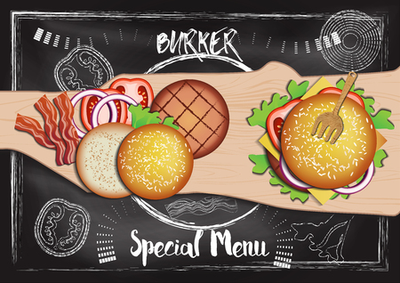 Burger with chalkboard background Reklamní fotografie - 117728395
