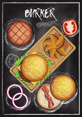 Burger with chalkboard background Imagens - 117728397