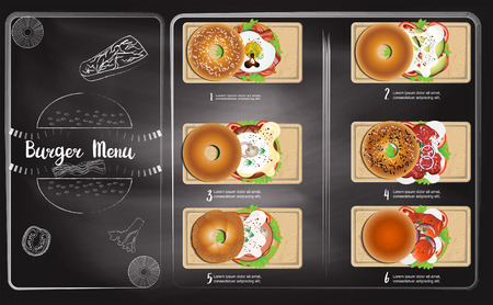 Burger menu in chalkboard background Reklamní fotografie - 117728399