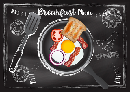 Breakfast menu with chalkboard background