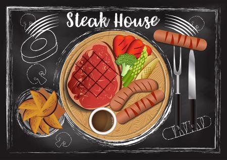 Steakhouse with chalkboard background Reklamní fotografie - 117728402