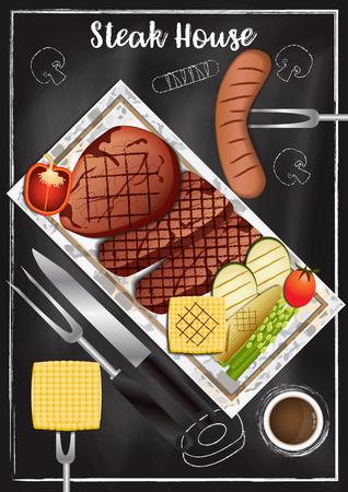 Steakhouse with chalkboard background Reklamní fotografie - 117728405