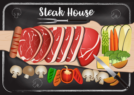 Steakhouse with chalkboard background Imagens - 117728404