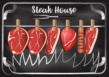 Steakhouse with chalkboard background Imagens - 117728406