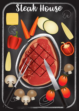 Steakhouse with chalkboard background Reklamní fotografie - 117728408