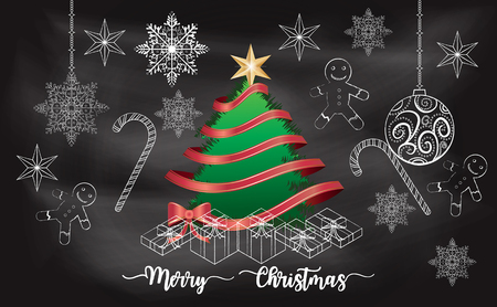 Christmas tree with chalkboard background Imagens - 117728413
