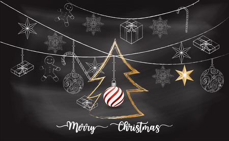 Christmas with chalkboard background