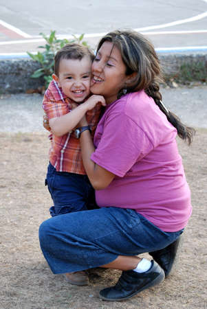 Hispanic Mother and Son