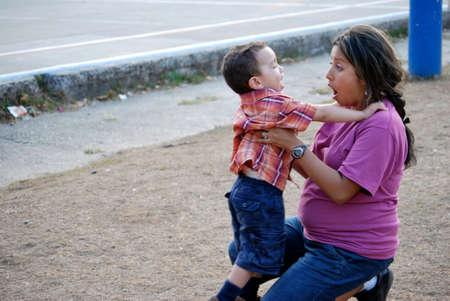 Hispanic Mother and Son photo