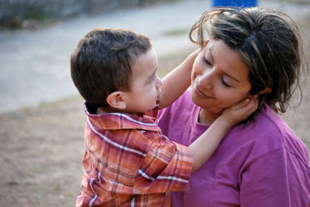 mexican woman: Hispanic Mother and Son