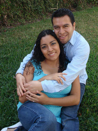 Beautiful Hispanic Couple embracing Stock Photo - 4660684