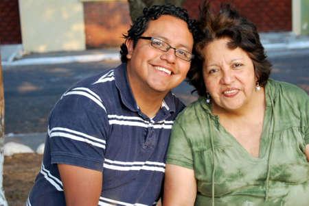 hispanic mother: Hispanic mother and grown son
