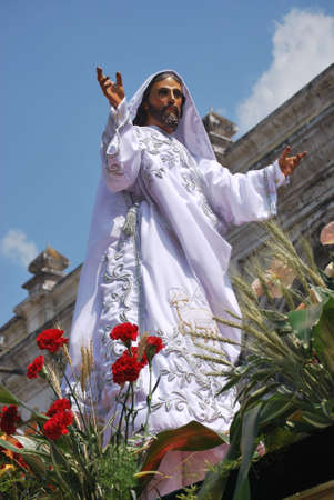 procession: The resurrected Jesus in a Easter Day procession in Antigua Guatemala Stock Photo