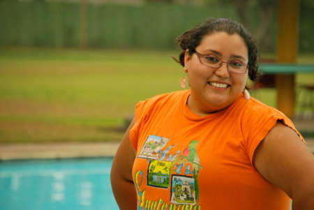 Overweight Hispanic woman with a big smile photo
