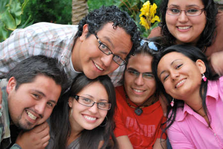 Faces of Happy Hispanic students Imagens