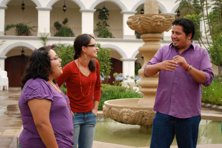 Hispanic students talking photo