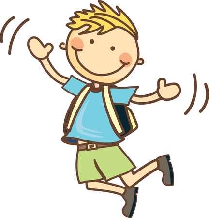 go to school: Chico listo para saltar