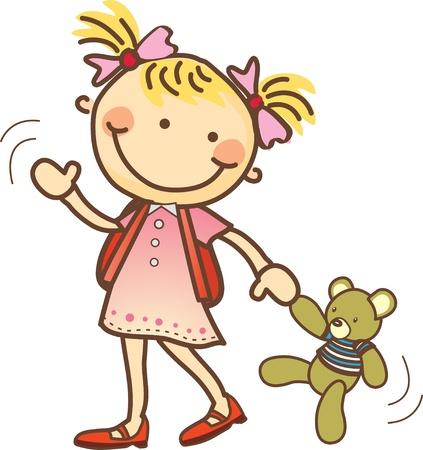 aller a l ecole: Cute girl pr�t � aller � l'�cole