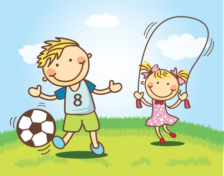 kindness: children playing at field Illustration