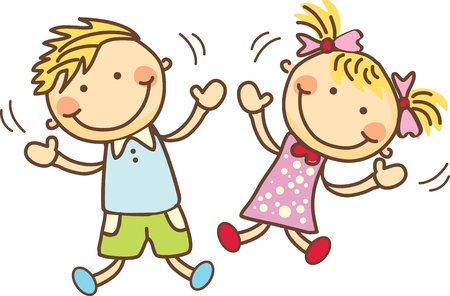 brother sister: Happy kids playing  Illustration