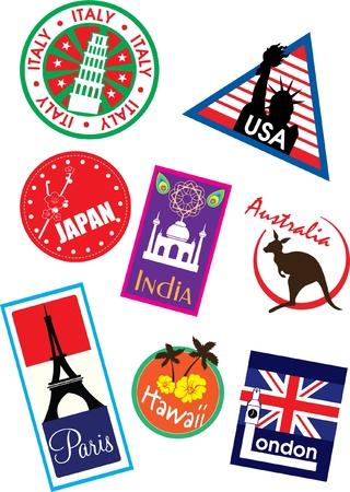 india city: travel label set vector  Illustration
