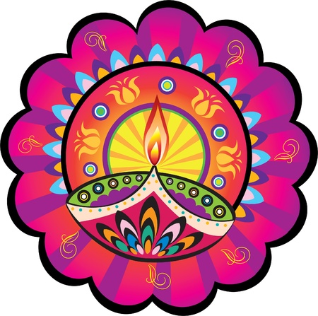 idool: Indian olielamp Stock Illustratie