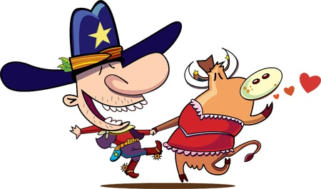 country western: cowboy and horse dancing Illustration