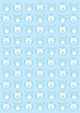 Teddy bears seamless blue background Vector