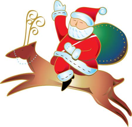 Santa Claus Christmas Sleigh Vector