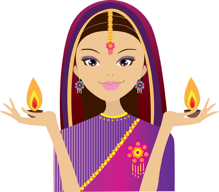 Indian Woman holding diwali candle light Vector
