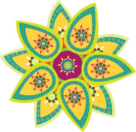 rangoli: Colorful indian style pattern Illustration