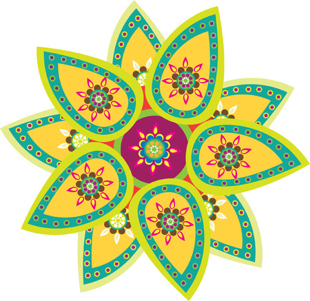 Colorful indian style pattern Illustration