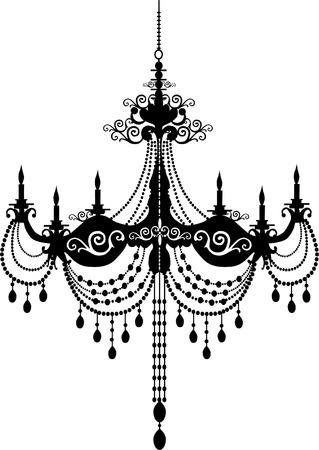 chandelier: Retro chandelier silhouette Illustration