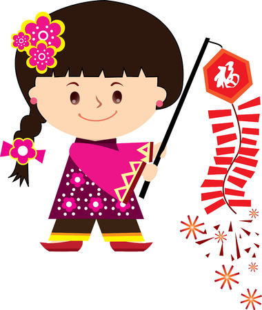 Girl Clebrate Happy Chinese New Year Vector